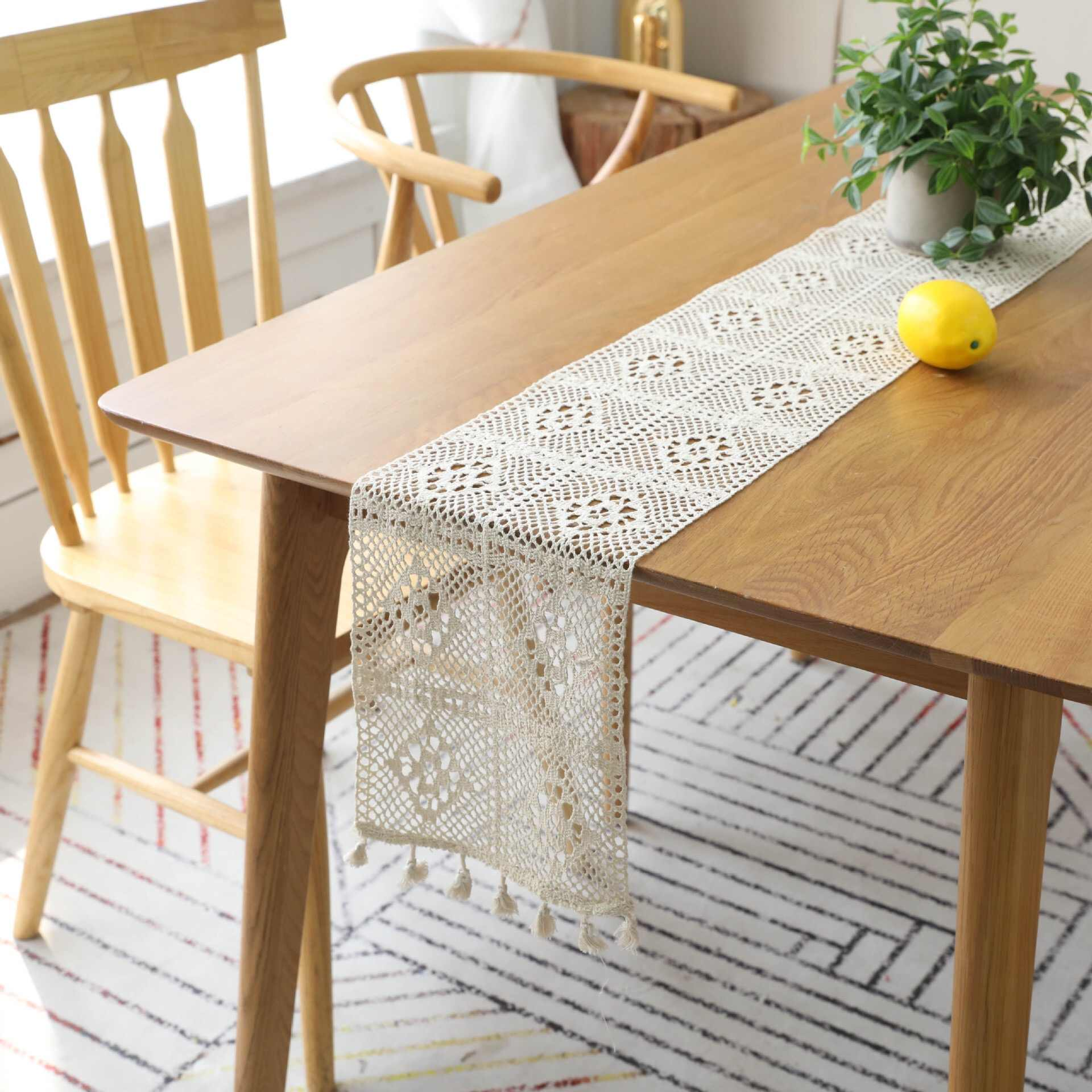 Beige Crochet Lace Table Runner With Tassel Cotton Tablecloth Runner Coffee Bed Runners For Wedding Hollow Christmas Decor Table Runners Aliexpress