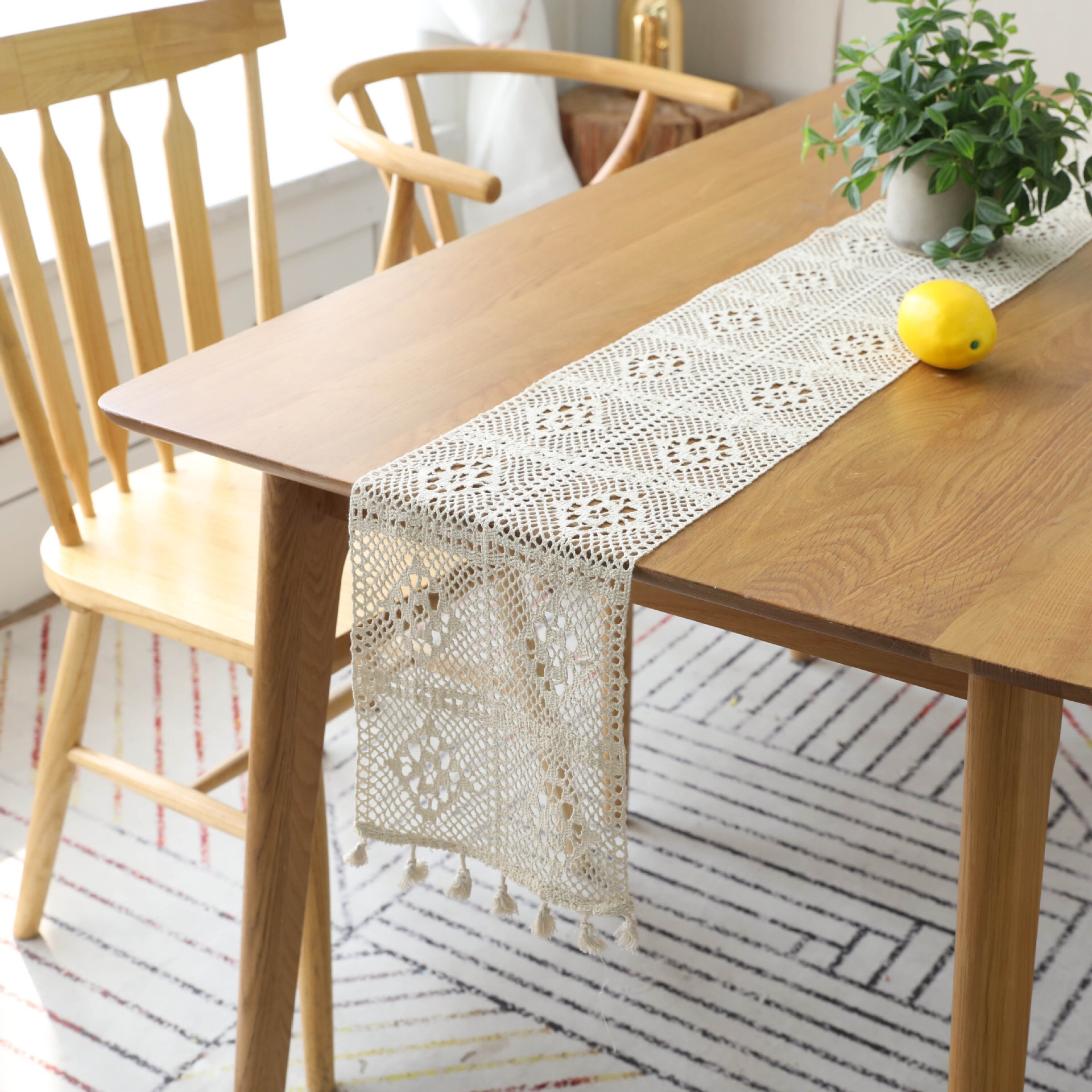 Beige Crochet Lace Table Runner With Tassel Cotton Wedding Decor Hollow Tablecloth  Runner Table Cover Coffee Bed Runners