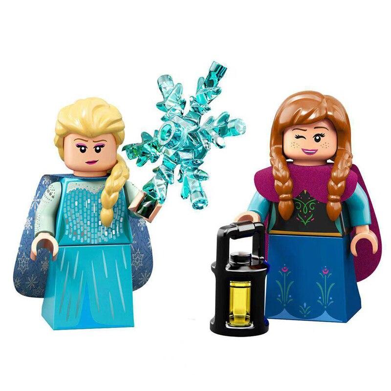Legoinglys Princess Block Girls  Princess Action Toys Snow White Elsa Anna Cinderella Friends Dolls Building Block Children Gift