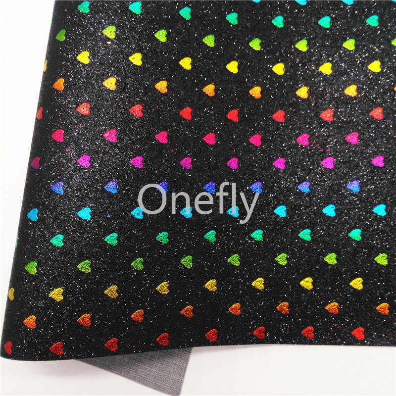 Onefly Harten Gedrukt Glitter Leer, Fijne Glitter Stof Vellen Mini Rolls Voor Bow Diy Handtassen Schoenen B16-2-8