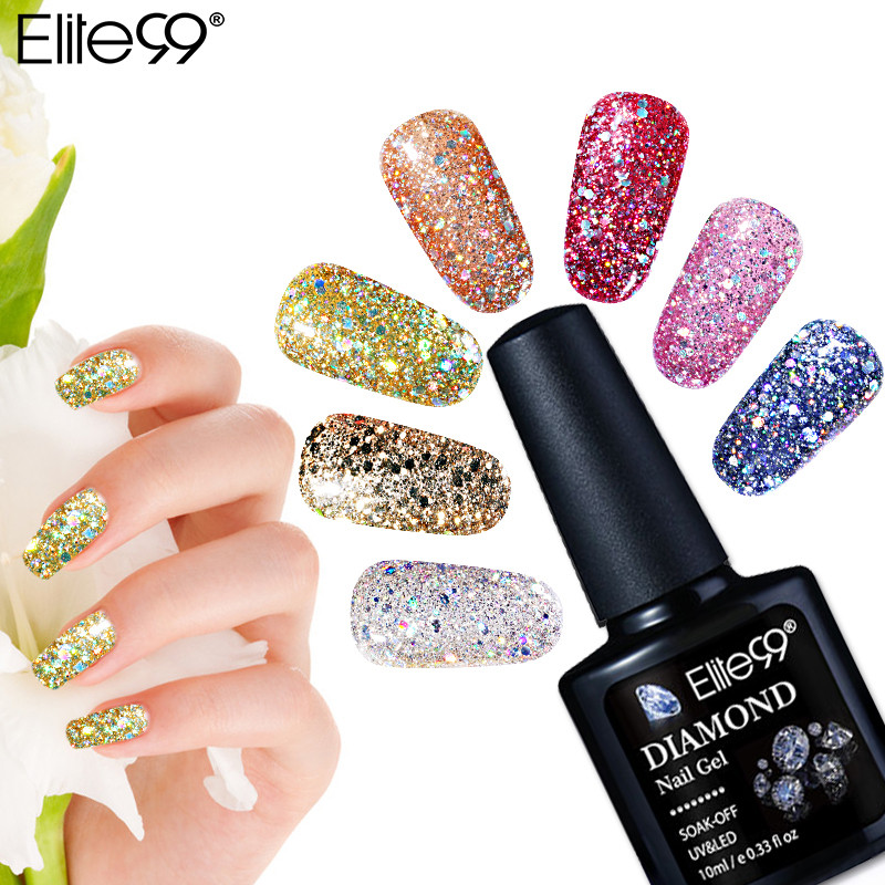 Elite99 10ml Diamond Color Nail Gel UV LED Gel Polish Shining Glitter Sequins Nail Art Gel Polish Long Lasting Polishes Varnish
