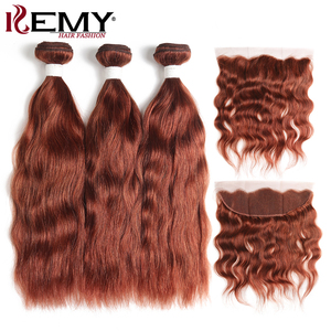 Image 2 - Brown Auburn Human Hair Bundles With Frontal 13x4 KEMY Brazilian Natural Wave Human Hair Weave Bundles With Closure Non Remy