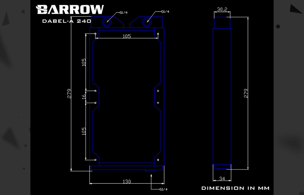 Barrow Dabel-A 240, 34mm Thicknes 240mm Radiator, Copper Single Wave Water Cooler, Suitable For 120mm Fans