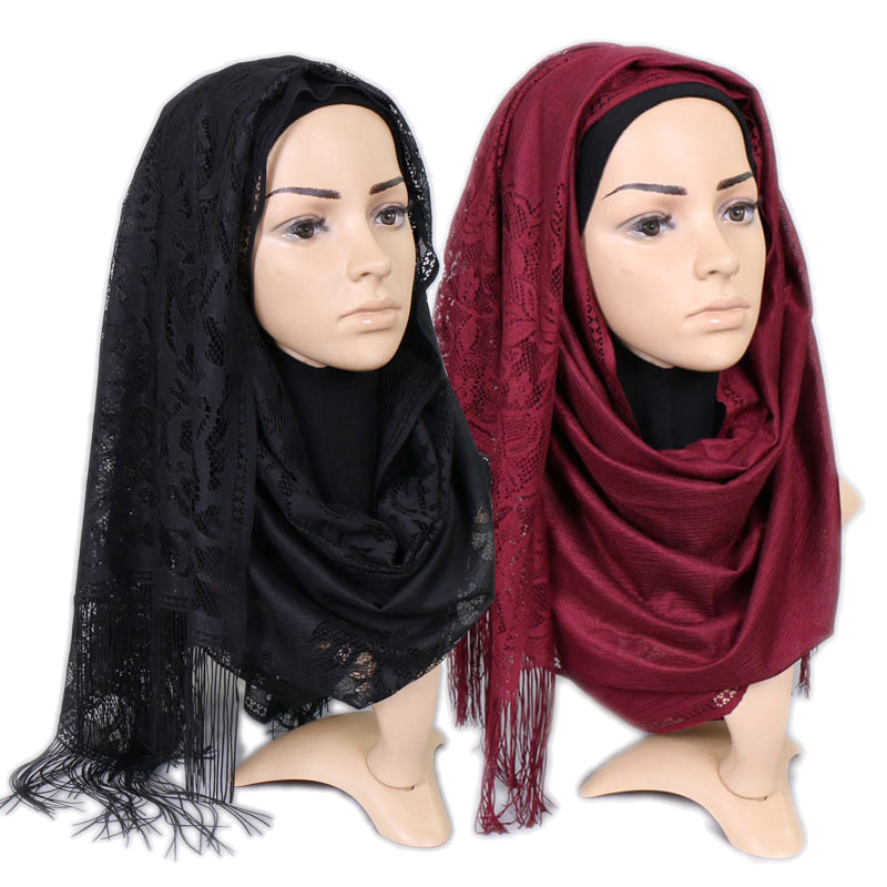 170*65cm Fashion Tassel Hollow Flowers Lace Hijab Scarf Solid Color Islam Shawls And Wraps Women Headscarf Hijab Femme Musulman