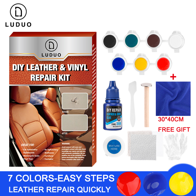 LUDUO DIY Liquid Leather Repair Kit Vinyl Furniture Paint Car Seats Sofa Shoes Jacket Skin Restore Cleaner Paint Care with Cloth-in Polishes from Automobiles & Motorcycles