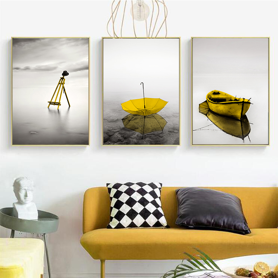 Abstract Calm Lake Landscape Yellow Wall Art Canvas Painting Pictures Posters And Prints Interior For Living Room Home Decor