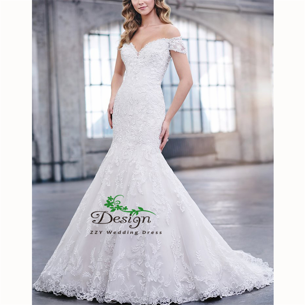 Luxury Mermaid/Trumpet Hand White Romantic Made Lace Beading Lace Wedding Dress Court Train Tulle Backhole Cheap Bridal Gowns