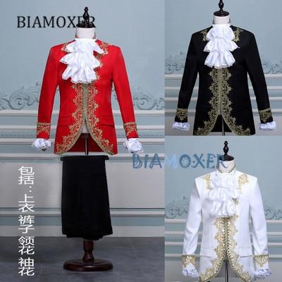 Biamoxer adult Capretto Royal Re Principe Costume Uomo Bambini Medievale Leader Cosplay Giacca Pantalone Set Completo