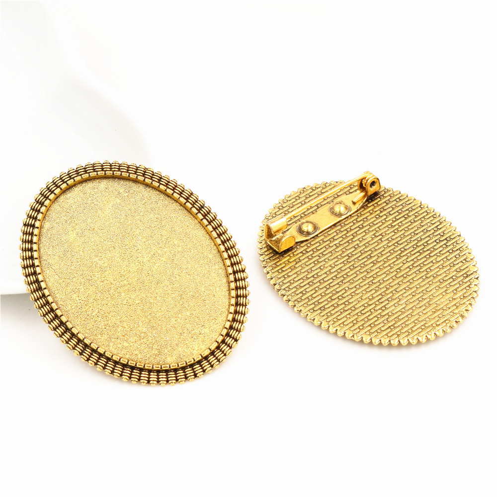 New Fashion 5pcs 30x40mm Inner Size Antique Gold Color Brooch Style Cabochon Base Setting Charms Pendant (B3-06)