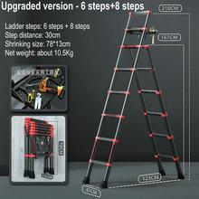 Escalera telescópica de aluminio multifunción 1,67 M/escalera de caballete 2,1 M para el hogar, escalera portátil de cinco escalones, elevador plegable para escaleras
