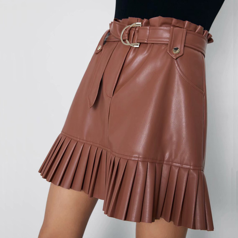 2019 Autumn Female Skirt Casual Solid Color Belt Decorated Pleated Artificial Leather Skirt