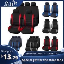 Tampas de assento para carro, capas interior do assento de carro compatível com airbag para lada volkswagen vermelho azul cinza protetor de assento