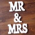 1 conjunto mr & mrs branco letras de madeira inglês alfabeto palavra livre pé casamento festa aniversário decoração da casa número letras