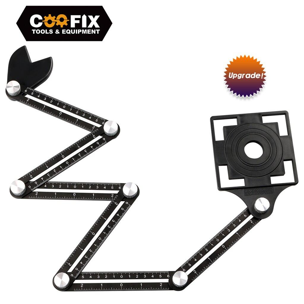 Coofix telha buraco localizador ferramenta ajustável alvenaria vidro ângulo fixo medição régua universal modelo angular 4/6/12 corrediças/dobra