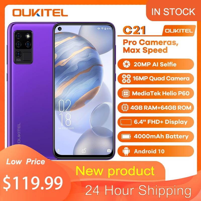 Oukitel C21 Quad Camera Android 10 Os Smartphone 6.4 4000Mah 20MP Fhd + Full Screen 4 + 64gb Rom Octa Core Global Versie Telefoon