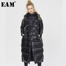 [EAM] Loose Fit Black Big Size Down Jacket New Hooded Long Sleeve Warm Women Parkas Fashion Tide Autumn Winter 2019 1A359(China)