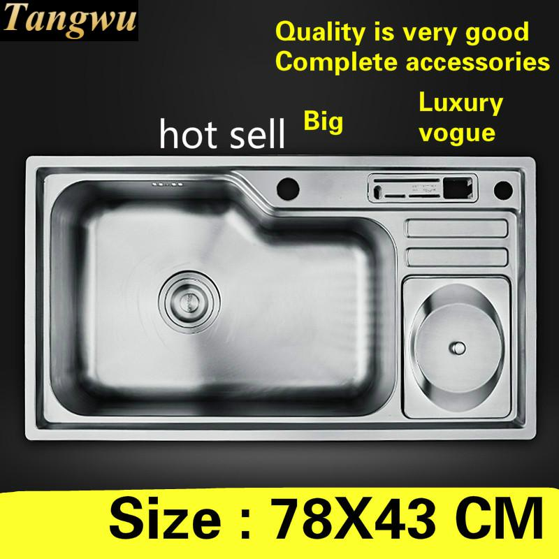 Free Shipping Apartment High Quality Kitchen Single Trough Sink Standar Food Grade 304 Stainless Steel Big Hot Selling 78x43 CM