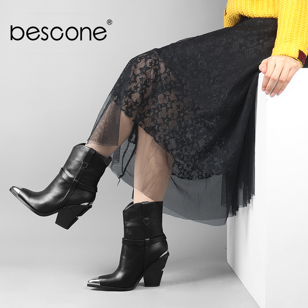 BESCONE Microfiber Ladies Mid-Calf Boots Basic Handmade Pointed Toe Black Square Heel Shoes Women New Lace-Up Outside Boots H8