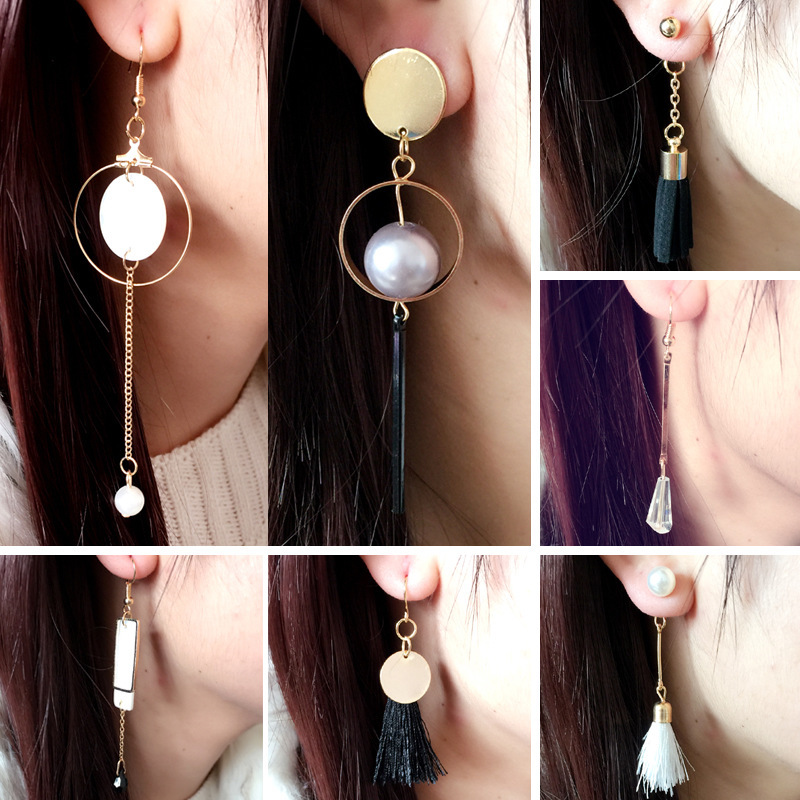 2019 Limited Promotion Brinco Aretes Korea Irregular Beibei Pearl Tassel Circular Drop Earrings Long Products Wholesale