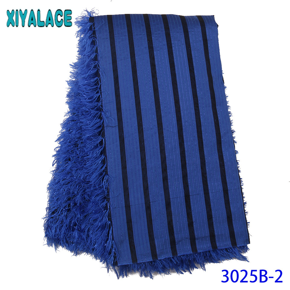 Royal Blue Brocade Lace Fabric Nigerian Lace Fabric 2019 High Quality Lace Hot Sale African Fabric Lace With Feather KS3025B
