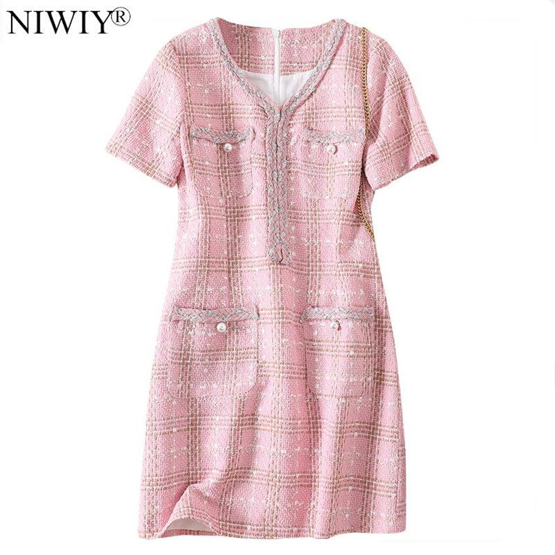 Nouveau Style Tweed rose automne robe femmes Mini noël moulante robe Vestidos Invierno 2019 Mujer Ropa Mujer N9670