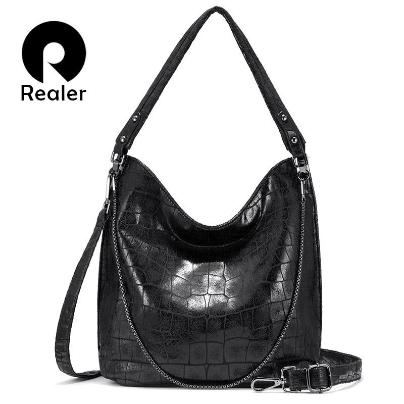 Realer Women Handbags Fashion Shoulder Bags PU Leather For Ladies Hobos Big Capacity Tote Bags Female Luxury Women Bag 2019