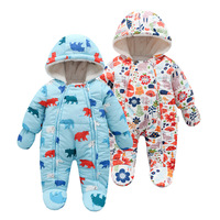 2019 Winter Baby Romper For Newborn Cotton Jumpsuit Infant Hooded Thick Warm Baby Overalls Toddler Girl Clothes 3 9 Months