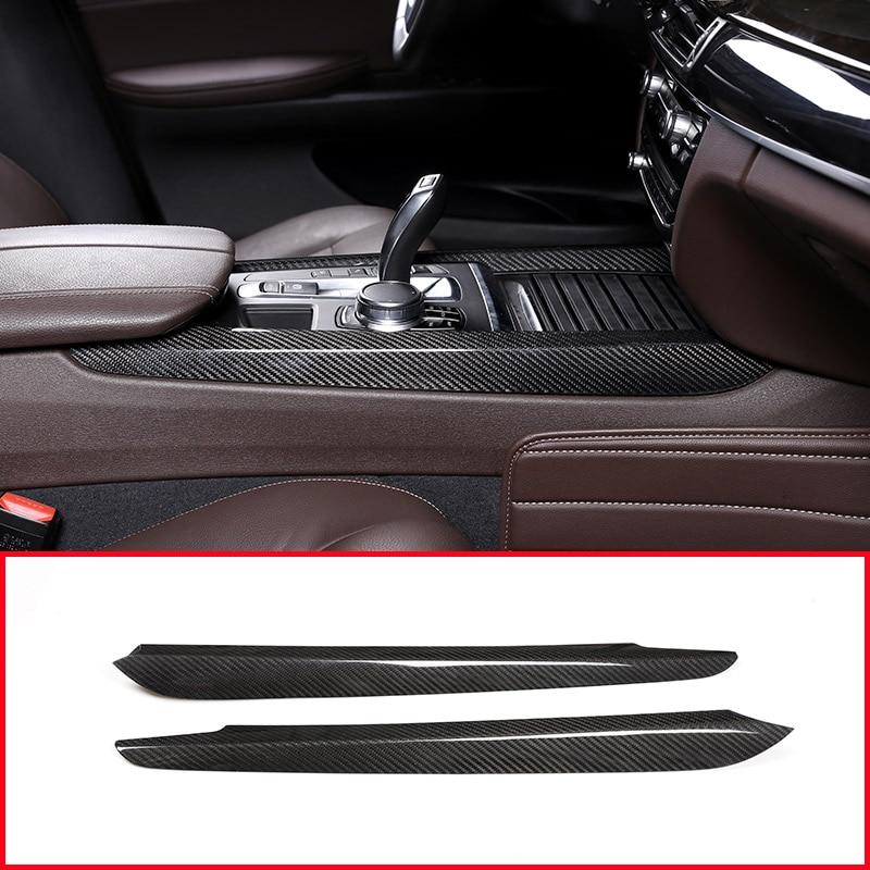2Pcs Real Carbon Fiber Car Center Decoration Trim for Bmw X5 F15 X6 F16 2014-2018 Accessories