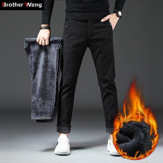 2019 חורף חדש גברים של Slim חם מכנסי קזואל עסקי אופנה קלאסי סגנון כותנה למתוח הדוק לעבות מכנסיים זכר מותג