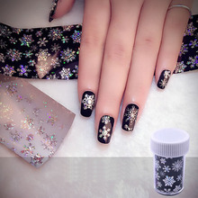 1pcs Christmas Snowflake Nail Art Stickers Christmas Starry Sky Pattern Thermal Transfer Stickers Glitter Nail Art Decoration sparkling christmas tree pattern door art stickers