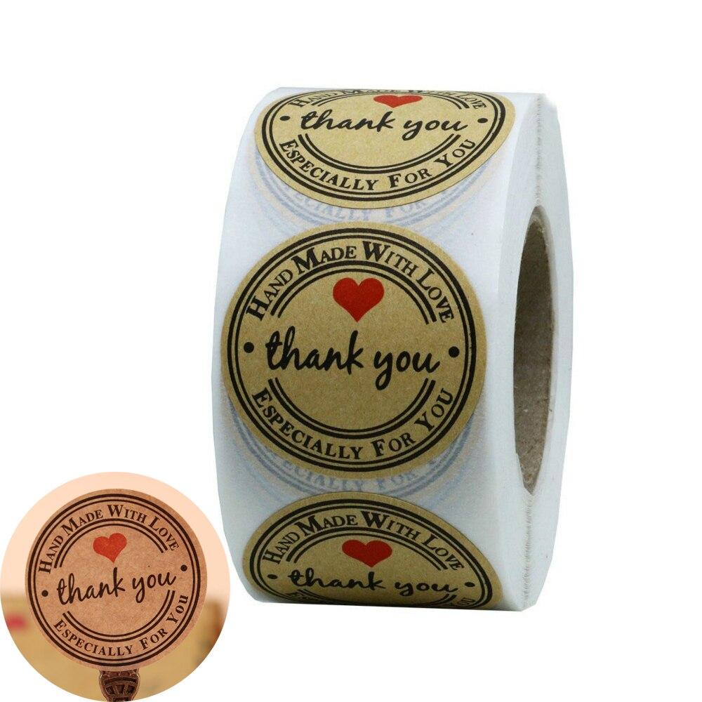 Mão mand com amor obrigado você especialmente para você etiquetas etiquetas diy presente bolo doces papel adesivo tags caseiras 500 pces/rolo