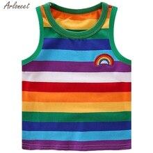 Детская Радужная футболка для маленьких девочек и мальчиков, топы, одежда в полоску, летние топы для мальчиков, блузка, мода