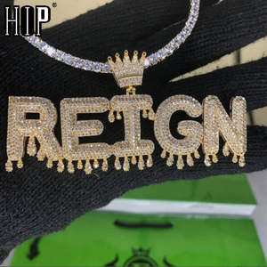Hip Necklaces Chain Jewelry Pendants Bubble-Letters Drip Cuban Custom-Name Iced-Out Cubic-Zircon