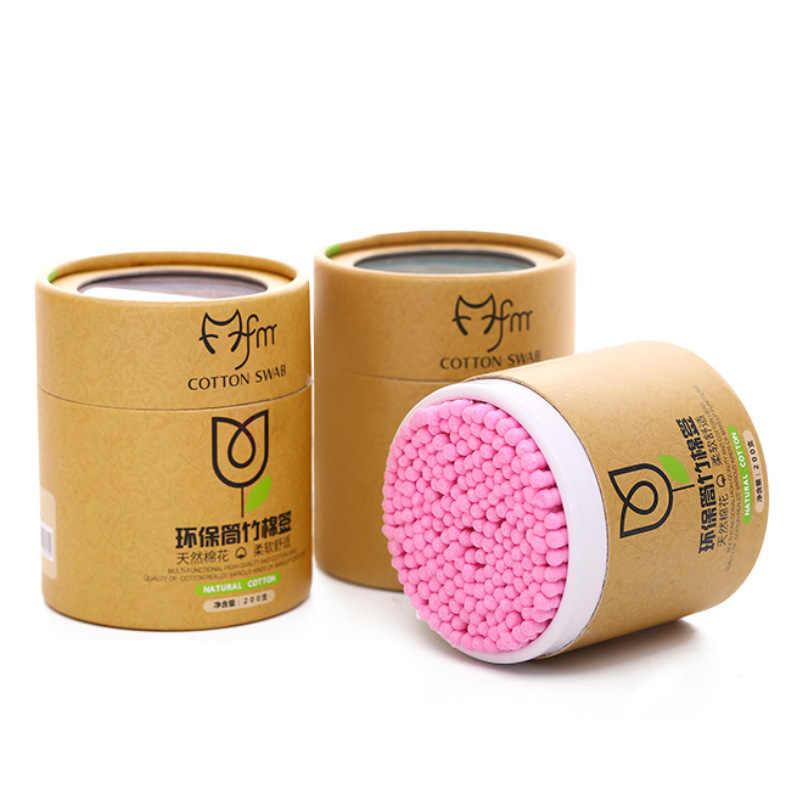 100/200 ชิ้น/กล่องไม้ไผ่ผ้าฝ้าย Swab ไม้ Sticks SOFT COTTON Buds ทำความสะอาดหู Tampons Cotonete Pampons สุขภาพความงาม