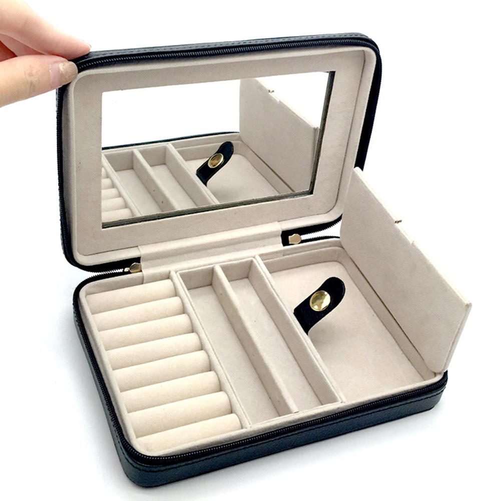 Jewelry Box With Mirror Zipper Small Gifts Women PU Leather Organizers Portable Black Cases Display Storage Travel