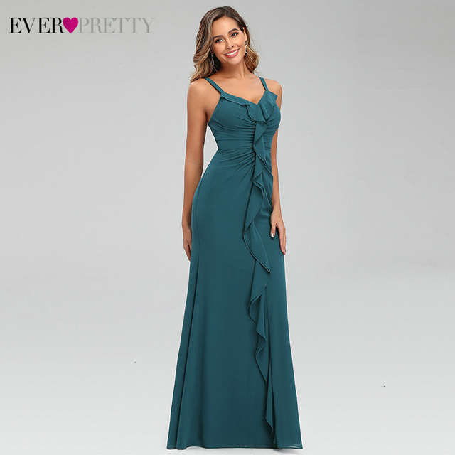 Sexy Teal Prom Dresses Ever Pretty Ruffles V-Neck Spaghetti Straps Ruched Simple Chiffon Mermaid Party Gowns Vestido Largo Gala 4