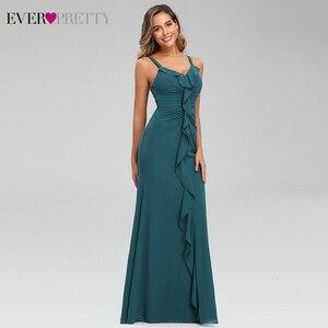 Image 4 - セクシーティールウェディングドレスこれまでにかわいいフリルvネックスパゲッティストラップシャーリングシンプルなシフォンマーメイドパーティードレスvestidoラルゴガラ