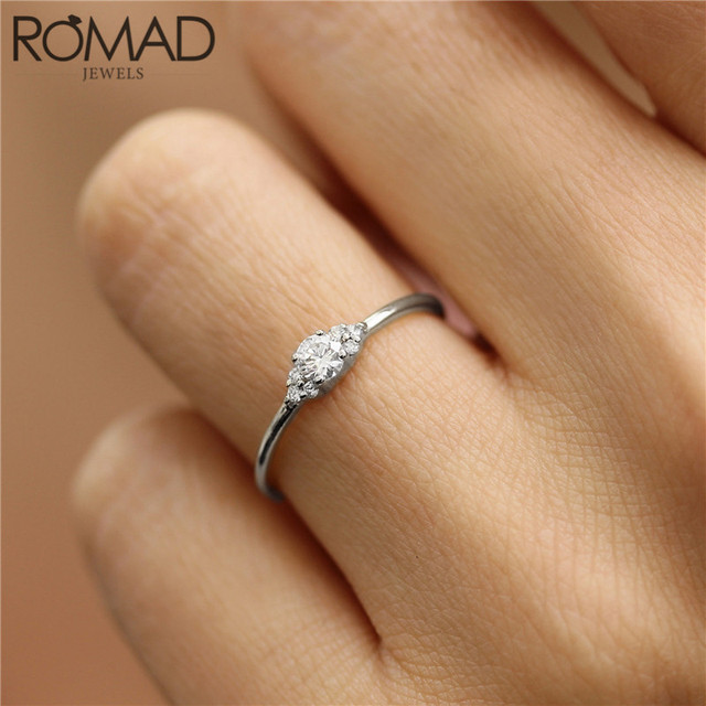 Romad Dainty Zircon Crystal Rings For Women Girls Simple Wedding Rings Charm Lover Couple Ring Finger Jewelry Anillos Mujer Gift Engagement Rings Aliexpress
