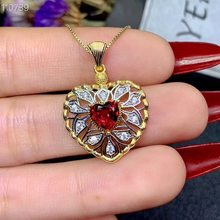 Natural garnet necklace, 925 Sterling Silver inlay, heart-shaped style, professional jewelry wholesale, world jewelry factory(China)