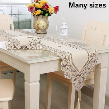 European-style Khaki Hollow Cloth Embroidered Table Runner Pad TV Cabinet Piano Cover Bedroom Study Decoration Camino De Mesa image