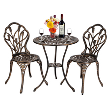 Garden Table and Chairs Set European Style Cast Aluminum Outdoor 3 Piece Patio Bistro Set of Table and Chairs Home Furniture cheap CN(Origin)