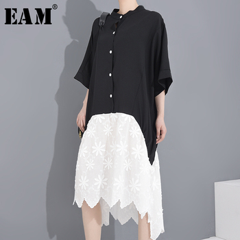 [EAM] Women Irreuglar Hem Big Size Shirt Dress New Stand Collar Half Sleeve Loose Fit Fashion Tide Spring Summer 2020 1W556