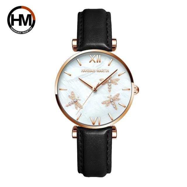 2021 novo design japão akoya pérola concha libélula senhoras luxo diamantes vieira relógios de aço inoxidável para mulher transporte da gota 4