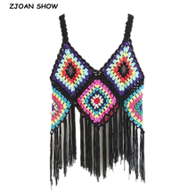 Knitted Waistcoat Vest Crochet Fringed Plaid Colored Women Holiday-Style Bohemian Tassel