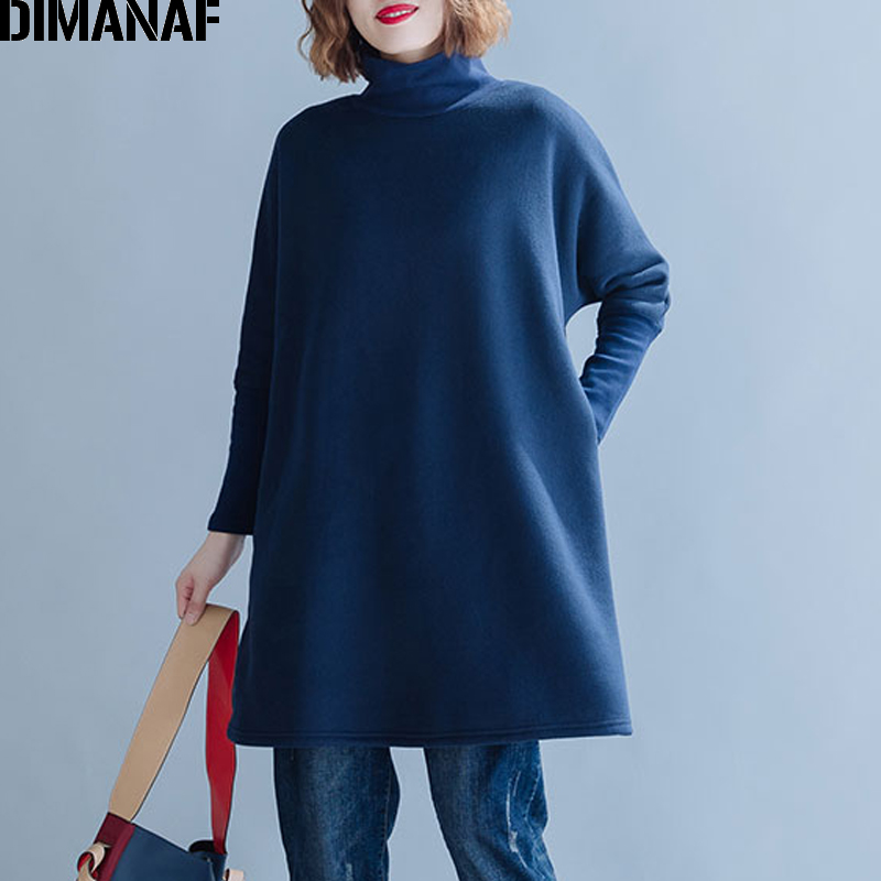 DIMANAF Plus Size Women Sweatshirts Thicken Turtleneck Female Tops Shirts Autumn Winter Long Sleeve Big Size Loose Cotton Solid