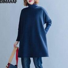 DIMANAF-sweat-shirt à col roulé pour femmes, t-shirt à manches longues épais, ample, en coton, uni, grande taille, automne hiver