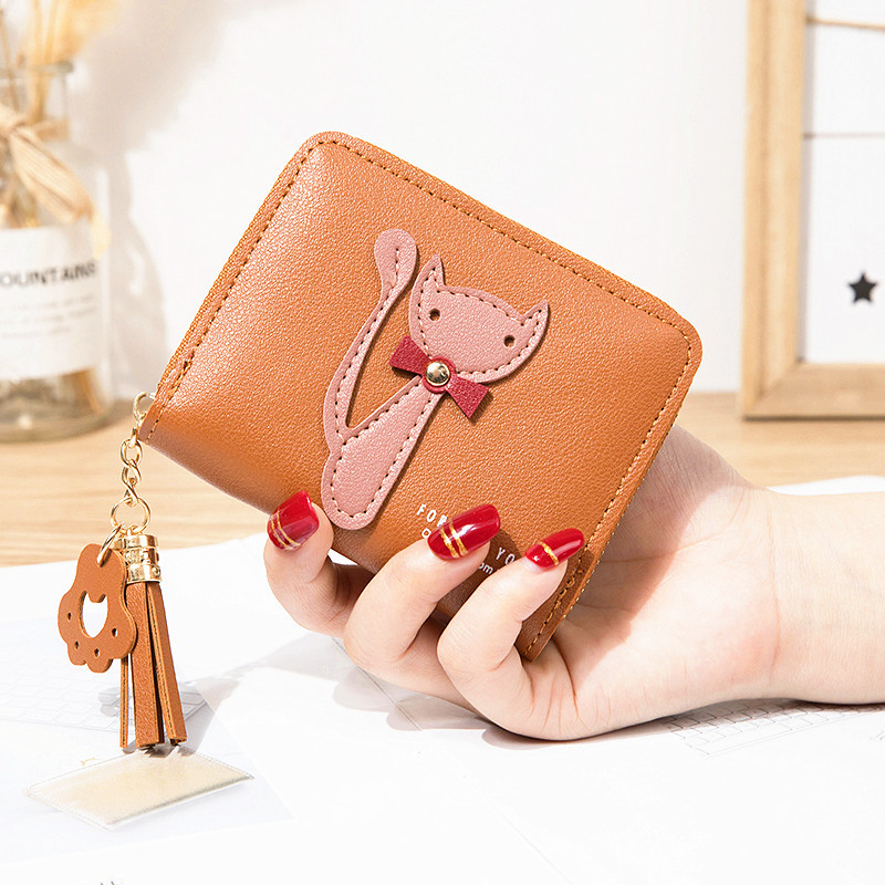 Cartoon cute cat girls small purse tassel short Purses for women coins zipper square woman Wallet bag leather female coin pouch