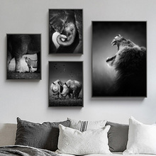 Black White Elephant Owl Panda Deer Tiger Animals Canvas 5D DIY Diamond Painting Nordic Embroidery Mosaic Posters Wall Decor Art