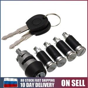 7Pcs/Set 1 Ignition Switch 4 Door Lock Barrel With 2 Keys For VW T4 Caravelle MK IV 1990-2003 Transporter Double Barn Hardware(China)