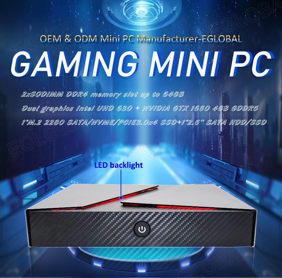Eglobal Gaming Mini Pc Powerful Processor Intel Core I5 9300H I7 9850H Nvidia GeForce GTX 1650 4GB GDDR5 High Quality Computer